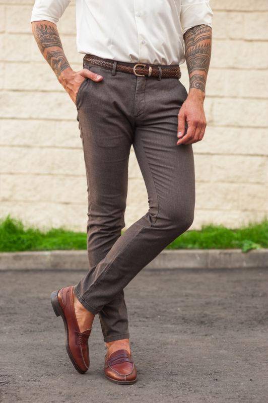 Коричневые брюки с умеренной зауженностью. Арт.:6-504-23