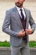 Серый мужской пиджак в тонкую клетку. Арт.:2-505-22
