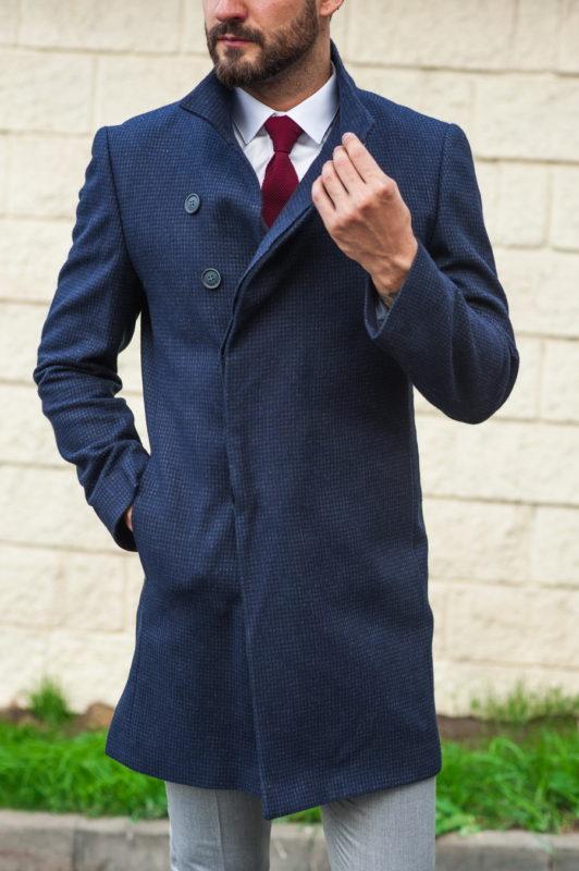 Темно-синее мужское пальто. Арт.:1-506-2