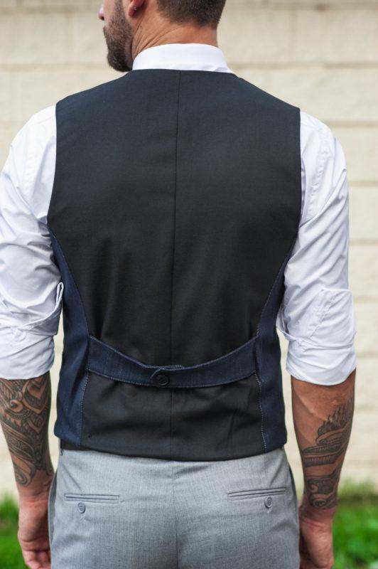 Темно-синий мужской жилет стиле кэжуал. Арт.:3-522-3