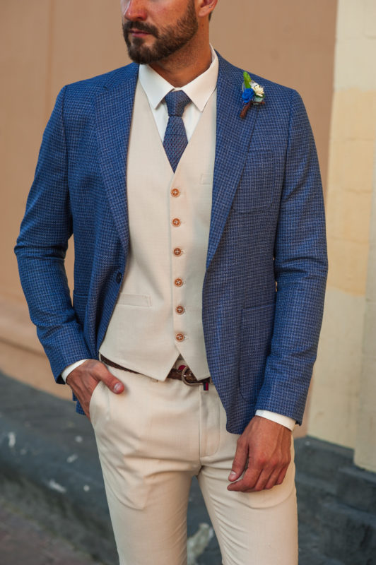 Синий мужской пиджак в стиле кэжуал. Арт.:2-507-5