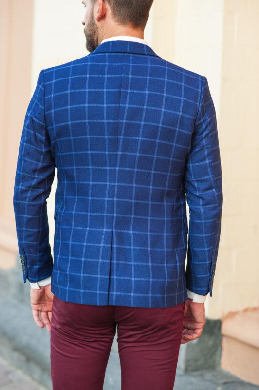 Темно-синий мужской пиджак в клетку. Арт.:2-510-2