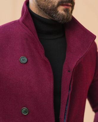 Стильное мужское пальто бордового цвета. Арт.:1-512-2