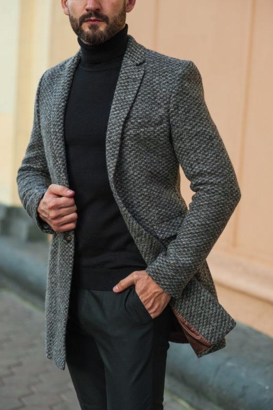 Модное пальто серого цвета . Арт.:1-514-3