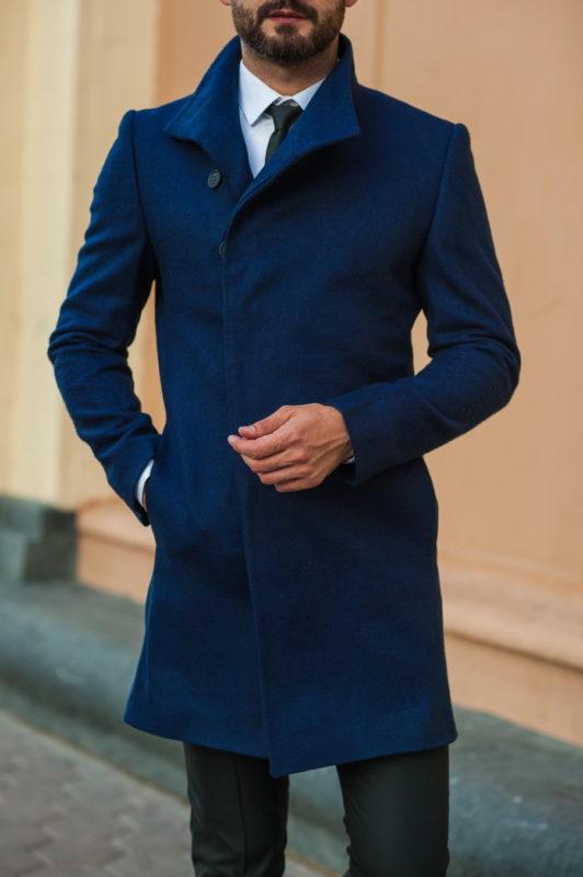 Приталенное пальто синего цвета. Арт.:1-517-2