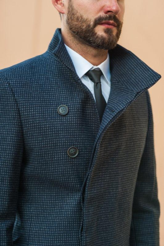 Демисезонное мужское пальто серого цвета. Арт.:1-518-2