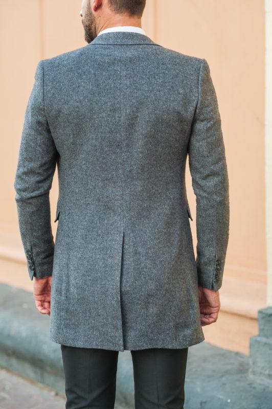 Однобортное пальто серого цвета. Арт.:1-519-3