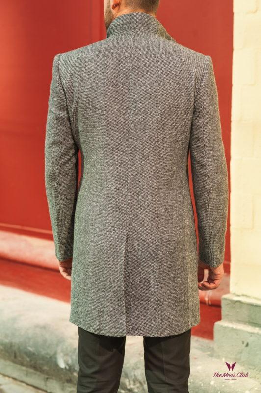 Серое мужское пальто с косым воротом. Арт.:1-556-2