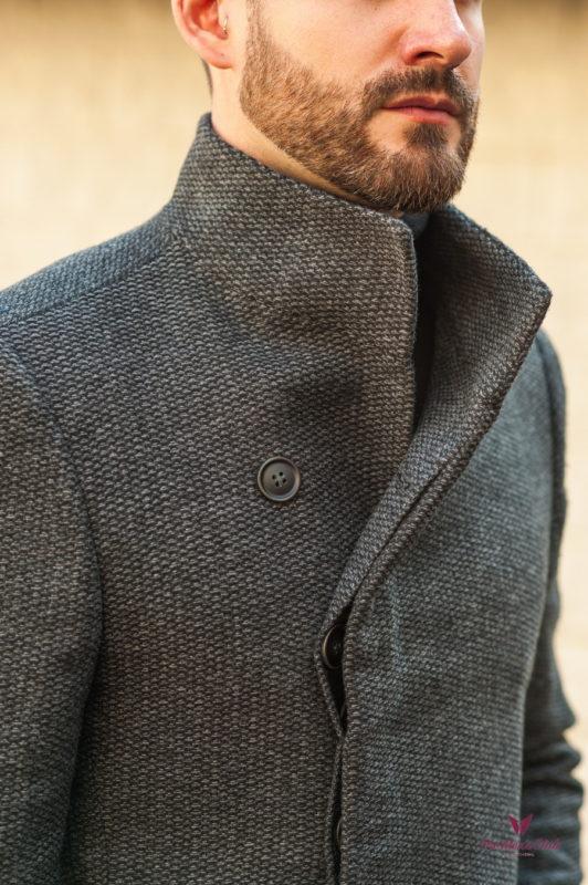 Демисезонное мужское пальто темно-серого цвета. Арт.:1-558-2