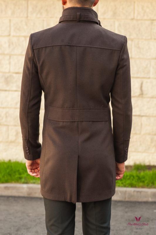 Мужское коричневое пальто с воротником стойкой. Арт.:1-559-1