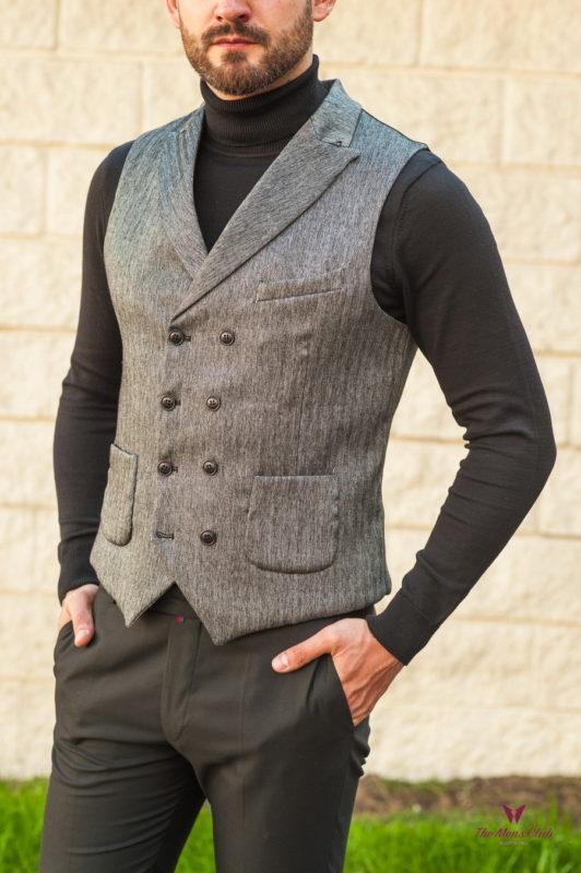Двубортный мужской жилет серого цвета. Арт.:3-561-3