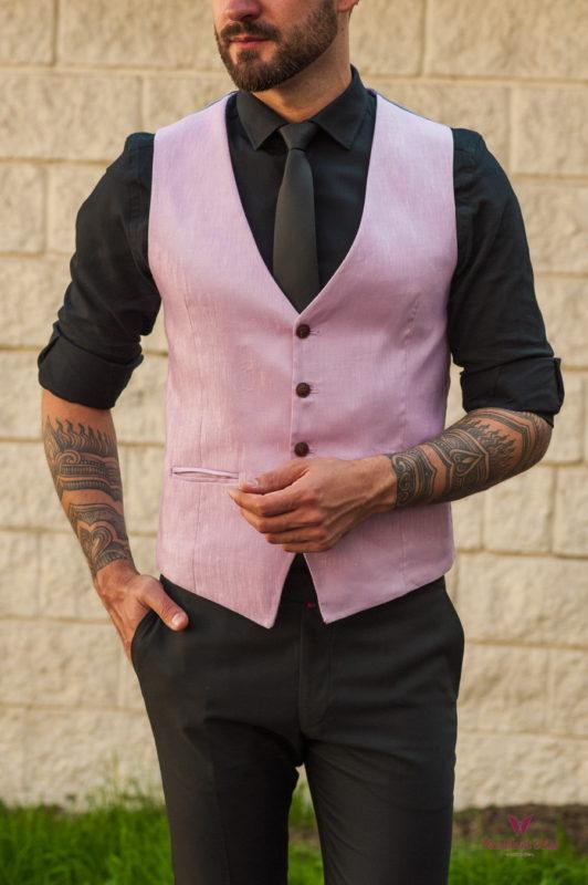 Мужской жилет розового цвета. Арт.:3-562-3