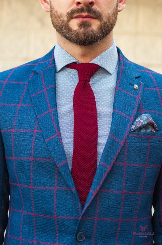 Синий мужской пиджак в контрастную клетку. Арт.:2-565-2