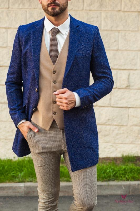 Стильное мужское пальто синего цвета. Арт.:1-571-3