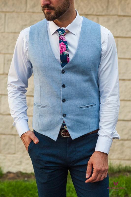 Классический мужской жилет голубого цвета. Арт.:3-572-3