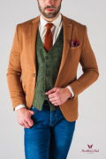 Стильный мужской пиджак горчичного цвета. Арт.:2-528-2