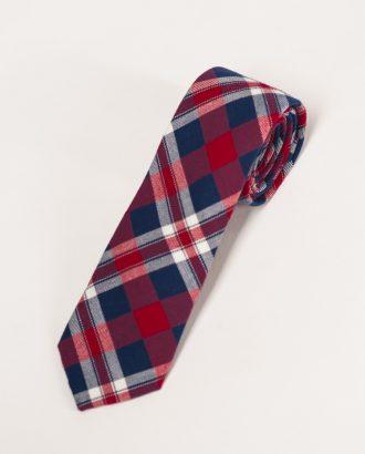 Трикотажный узкий галстук в клетку. Арт.:10-02