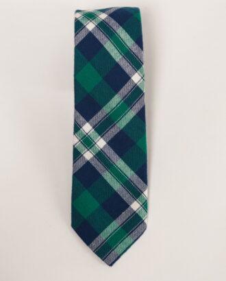 Трикотажный галстук в сине-зеленую клетку. Арт.:10-03