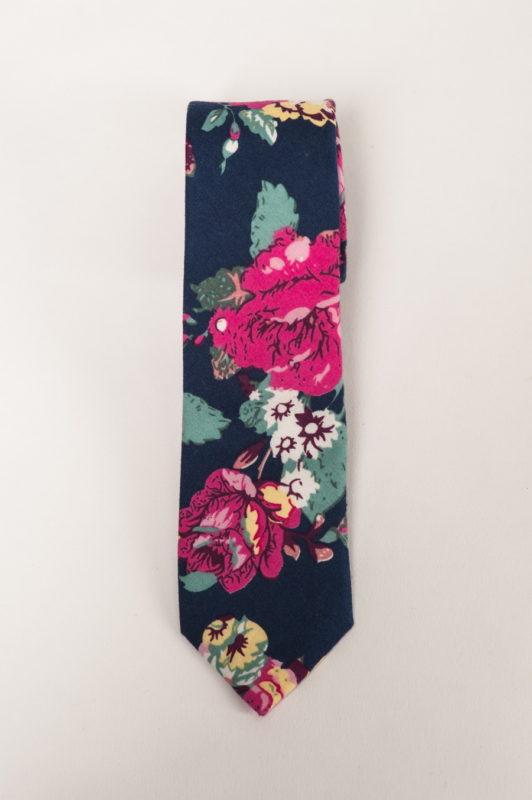 Узкий галстук с цветочным принтом. Арт.:10-04