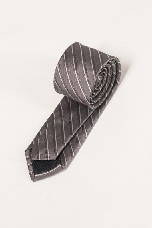 Серый галстук в диагональную полоску. Арт.:10-09