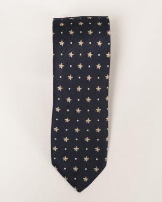 Темно-синий галстук с принтом. Арт.:10-11