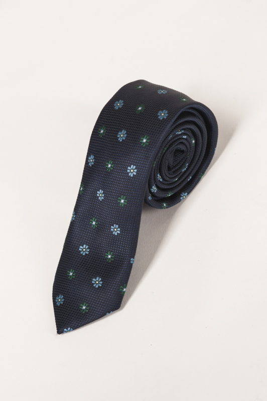 Узкий синий галстук с цветочным принтом. Арт.:10-14