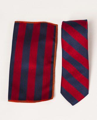 Красно-синий комплект из галстука и нагрудного платка. Арт.:10-17