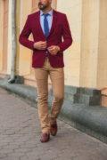 Бордовый мужской пиджак приталенного кроя. Арт.:2-546-2