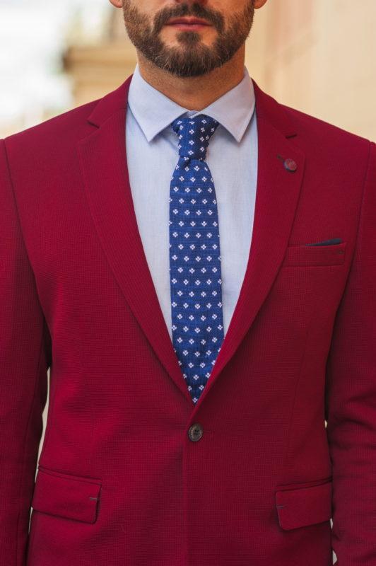 Бордовый мужской пиджак слим-фит. Арт.:2-546-2