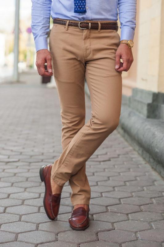 Повседневные мужские брюки горчичного цвета. Арт.:6-547-2