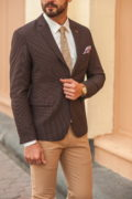 Коричневый мужской пиджак приталенного кроя. Арт.:2-548-2