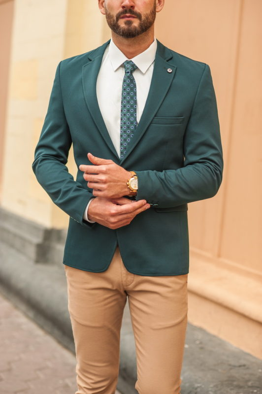 Стильный мужской пиджак зеленого цвета. Арт.:2-550-4