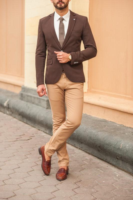 Коричневый мужской пиджак slim fit. Арт.:2-551-4
