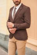 Коричневый мужской пиджак приталенного кроя. Арт.:2-551-4