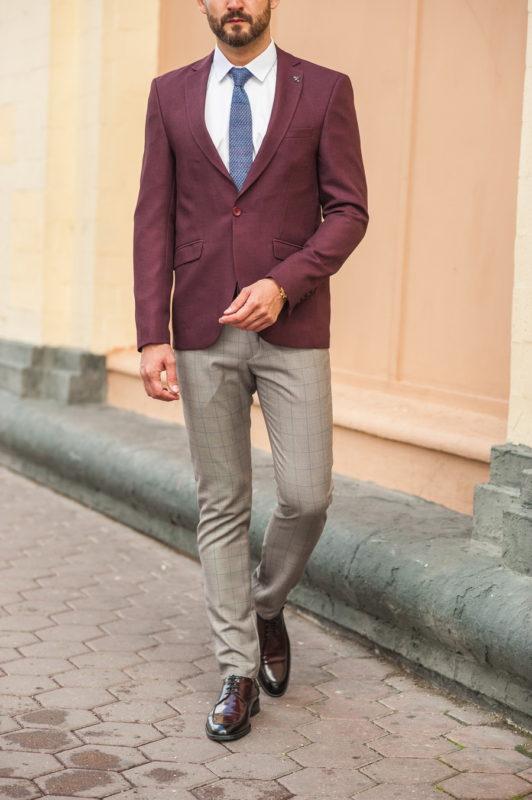 Стильный мужской пиджак бордового цвета. Арт.:2-553-1