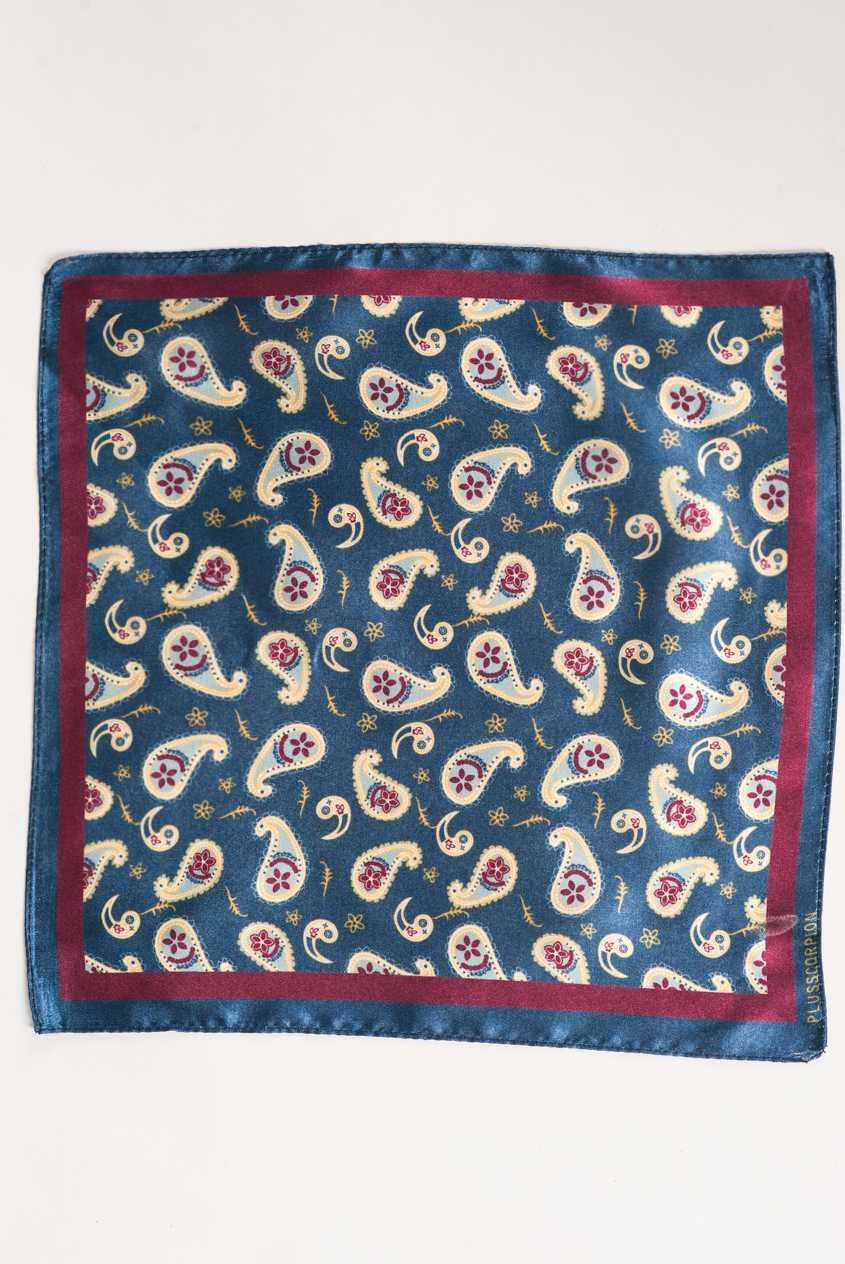 Синий нагрудный платок с узором пейсли. Арт.:11-07