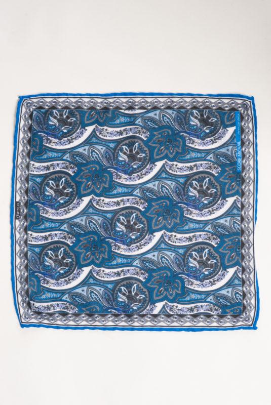 Голубой платок с принтом. Арт.:11-17