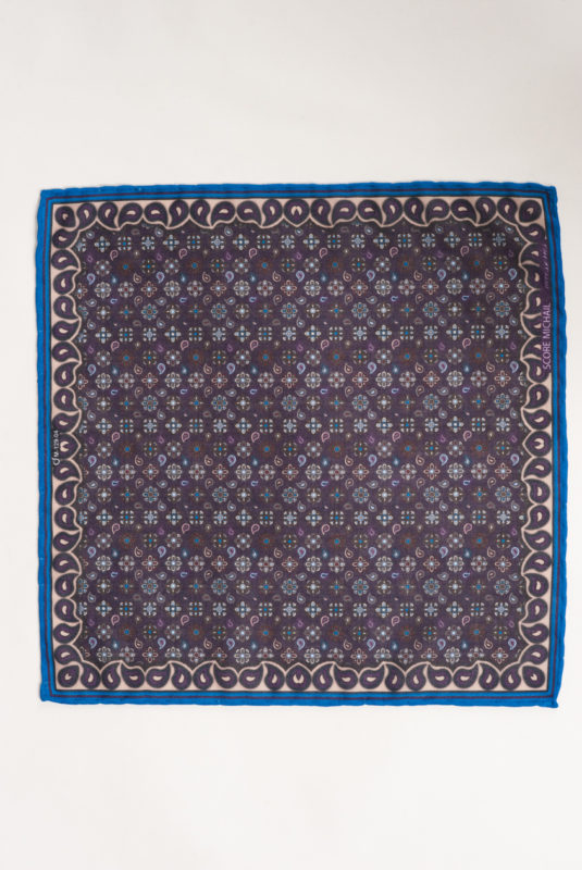 Карманный мужской платок темного цвета с орнаментом.. Арт.:11-27