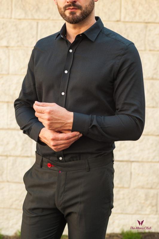 Черная приталенная мужская рубашка. Арт.:5-562-3