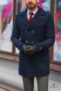 Синее мужское пальто из кашемира. Арт.:1-582-10
