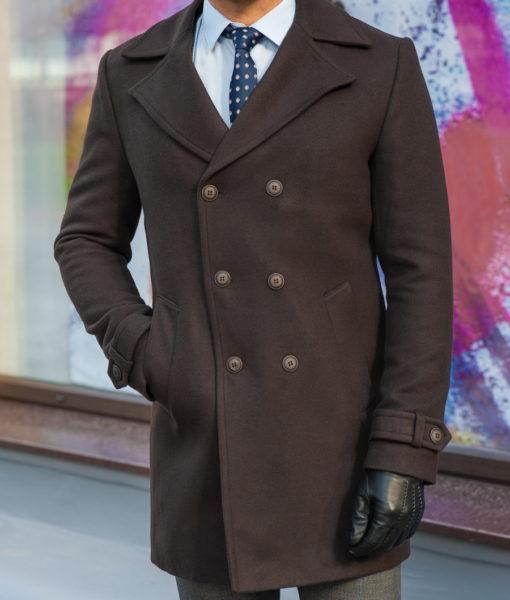 Зимнее мужское пальто коричневого цвета. Арт.:1-583-10