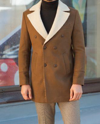 Мужское пальто из кашемира горчичного цвета. Арт.:1-588-10