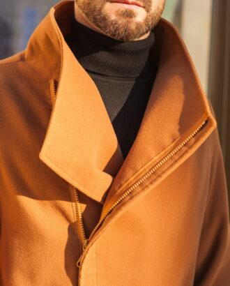 Стильное мужское пальто горчичного цвета. Арт.:1-589-6