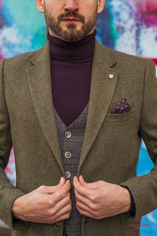 Классическое мужское пальто зеленого цвета. Арт.:1-591-2