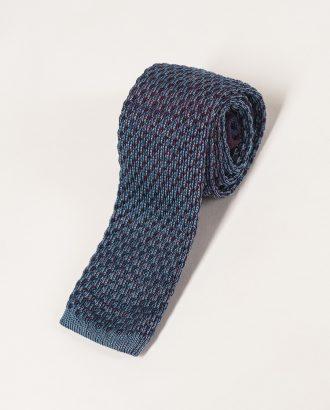 Вязаный галстук  серо-синего цвета. Арт.:10-21