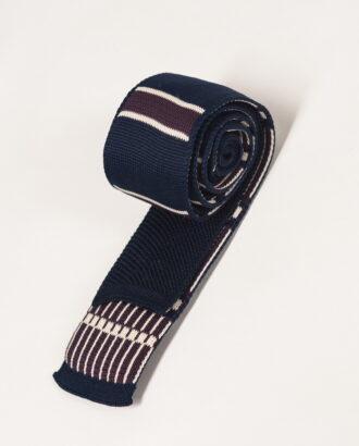 Синий вязаный галстук в полоску. Арт.:10-23