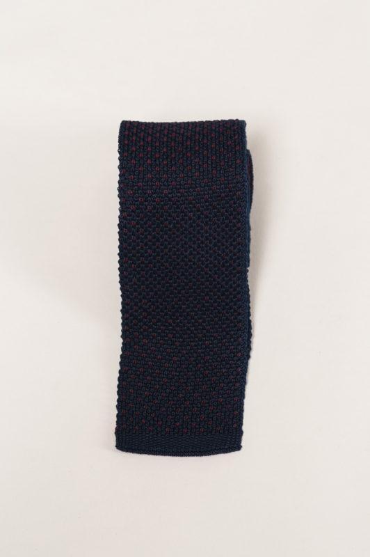 Вязаный синий галстук с бордовой нитью. Арт.:10-31