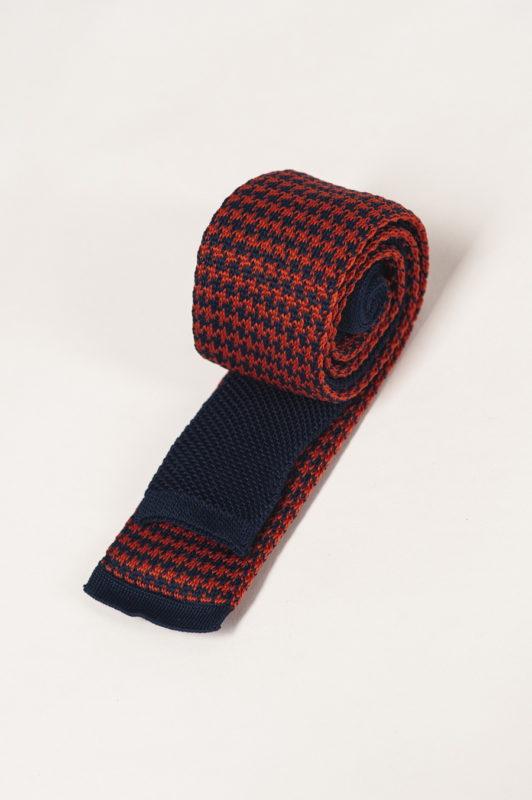 Оранжево-синий вязаный галстук. Арт.:10-32