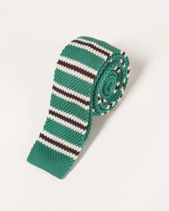 Зеленый галстук в горизонтальную полоску. Арт.:10-35