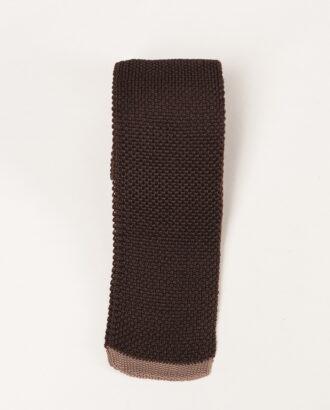 Вязаный галстук коричневого цвета. Арт.:10-37